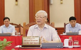 總書記、國家主席阮富仲與中央公安黨委常務處舉行會議。(圖源:越通社)