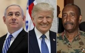 蘇丹主權委員會主席布爾漢(右圖)、美國總統特朗普(中)及以色列總理內塔尼亞胡。(圖源:社交網)
