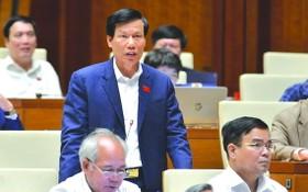 文體與旅遊部長阮玉善在議場上回答國會代表的質詢。