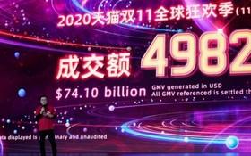 11月1日零時至11月12日零時,2020年天貓雙十一的成交額為4982億人民幣(約合741億美元)。(圖源:互聯網)
