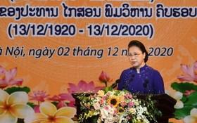 國會主席阮氏金銀在紀念儀式上致詞。(圖源:陳玄)