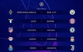 歐冠16強抽籤結果。(圖源:互聯網)