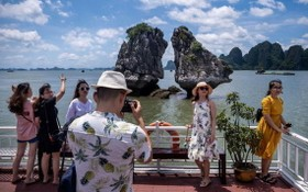 國內遊客觀光下龍灣景點並拍照留念。(圖源:互聯網)