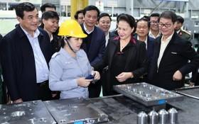國會主席阮氏金銀(前中)與工作團前往視察朱萊Thaco工業區。(圖源:越通社)