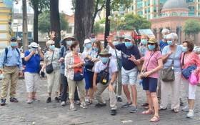 國際旅客參觀本市旅遊景點時合影留念。(圖源:施紅)