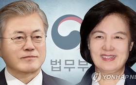 韓國總統文在寅(左)和法務部長秋美愛。 (圖源:韓聯社)