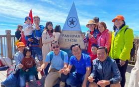 遊客觀光老街省沙巴市番西邦峰。