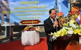 柬埔寨特命全權大使查伊‧納芙斯在紀念儀式上致詞。(圖源:庒寰牒)