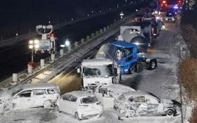 多輛汽車在高速公路上連環相撞,事故路段長約1公里。(圖源:路透社)