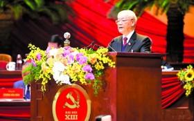 黨中央總書記、國家主席阮富仲在會議上致詞。(圖源:越通社)