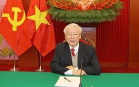 總書記、國家主席阮富仲與柬人民黨主席、柬首相洪森通電話。(圖源:越通社)