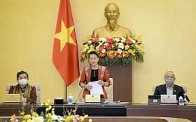 國會主席阮氏金銀(中)在會議上致開幕詞。(圖源:Quochoi.vn)