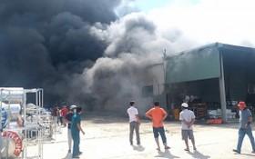 圖為平陽省土龍木市定和坊1月2日午時,天誠心公司倉庫發生了一場大火。(圖源:VOV)