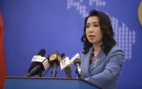 外交部發言人黎氏秋姮11日在記者會上回答記者提問。(圖源:紅阮)