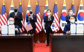 韓美草簽第十一份《防衛費分擔特別協定》。(圖源:推特)