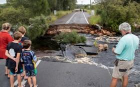當地時間3月20日,澳大利亞史蒂芬港,當地迎來暴雨,道路受損嚴重。(圖源:互聯網)
