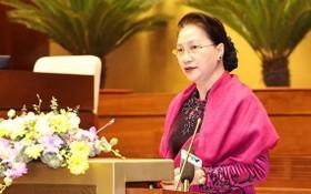 國會主席阮氏金銀在會上致詞。(圖源:越通社)