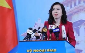 外交部發言人黎氏秋姮在記者會上發言。(圖源:林慶)