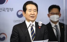 3月29日,在中央政府首爾辦公樓,韓國總理丁世均公佈反腐會議協商結果。 (圖源:韓聯社)