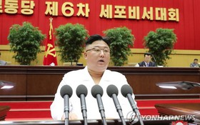 朝鮮國務委員會委員長金正恩在大會上發表講話。(圖源:韓聯社/朝中社)
