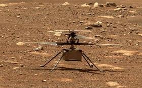 """美國航天局19日宣佈,""""機智""""號無人直升機成功完成了在火星上的首次飛行,這是人造航空器首次在另一個行星上受控飛行。(圖源:NASA)"""