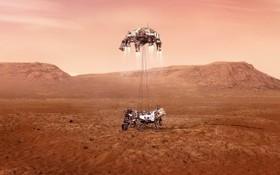"""2月18日,美國""""毅力""""號火星車在火星成功著陸。這張示意圖顯示""""毅力""""號火星車在火星著陸的過程。 (圖源:NASA)"""