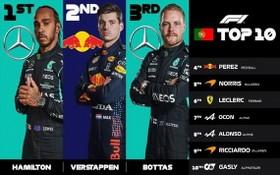 漢密爾頓、維斯塔潘、博塔斯獲得F1葡萄牙大獎賽前三名。(圖源:互聯網)