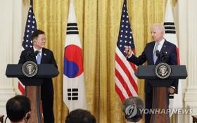 韓國總統文在寅當地時間5月21日在美國華盛頓白宮同美國總統拜登舉行會談,在雙方會談後舉行的記者會上,文在寅宣佈,韓美雙方商定終止《韓美導彈指南》。(圖源:韓聯社)