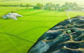 在稻田之間雄偉的山石。
