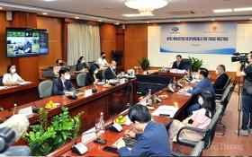 工商部部長阮鴻延 5日以線上形式召開的亞太經合組織(APEC)第27屆工商部長會議。(圖源:工商報)