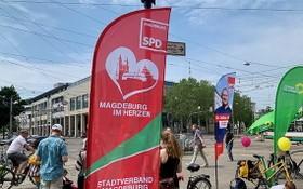 圖為6月5日下午,薩安州州府馬格德堡街頭的社民黨選舉宣傳點。(圖源:互聯網)