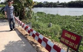 流經福門縣二平鄉的西貢右岸圍堤塌陷,已獲加固並豎立警示牌。