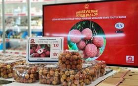 越南荔枝在法國巴黎一超市架上亮相。(圖源:秋莊)