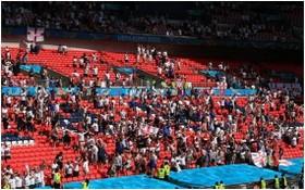 英倫敦溫布利球場在歐洲盃小組賽期間僅開放25%座位。(圖源:互聯網)