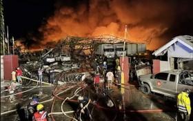 位於泰國首都曼谷東部北欖府的一家化學品工廠5日凌晨發生爆炸事故,造成至少20人受傷。(圖源:互聯網)
