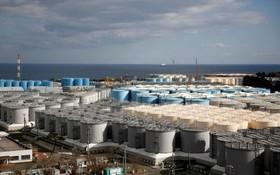 福島第一核電站內儲存廢水的水缸。(圖源:路透社)