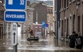 7月16日,在比利時列日,一名男子在洪水過後劃船沿著住宅街道行駛。(圖源:AP)