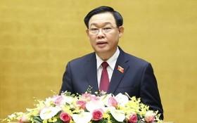 國會主席王廷惠在會議上致詞。(圖源:越通社)