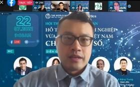 世行高級經濟學家 Shawn Tan 在研討會上發言。(圖源:月明)