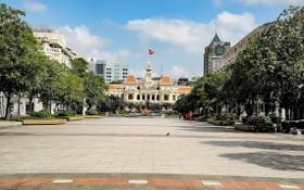 疫情下第一郡阮惠步行街靜悄悄。(圖源: 市黨部新聞網)