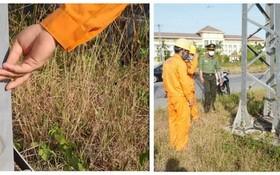 南東河工業區22千伏電線桿的許多支撐桿、螺絲被偷竊。
