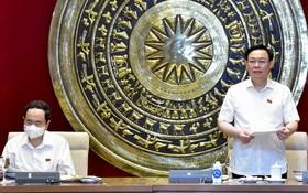 國會主席王廷惠(右)在會議上發言。(圖源:VOV)
