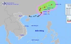 圖為 4號颱風的移動方向。(圖源:國家水文氣象預報中心)