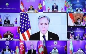 美國國務卿安東尼·布爾肯在東盟-美國外長視頻會議上發表講話。(圖源:越通社)