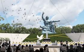 長崎原子彈爆炸死難者悼念暨和平祈願儀式現場。(圖源:共同社)