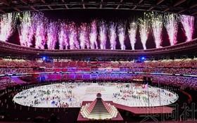圖為東京奧運會開幕式現場一景。(圖源:共同社)