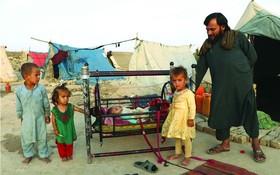 在阿富汗馬扎里沙里夫一處臨時營地的難民。(圖源:新華社)