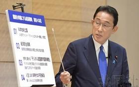 """日本總裁候選人岸田文雄提出""""收入倍增計劃""""。(圖源:共同社)"""