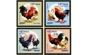 """越南郵政發行""""越南本土雞""""郵票一套四枚。"""
