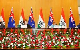 印澳首次 2+2 部長級對話現場。(圖源:AP)